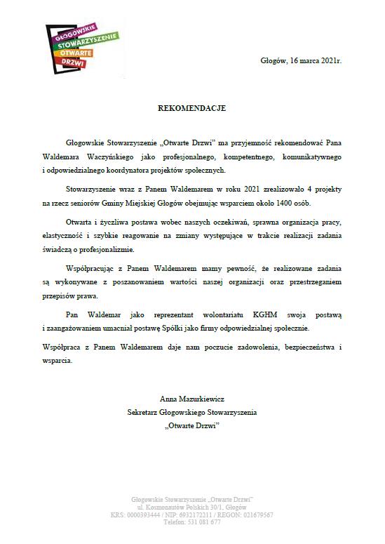 Referencje - Głogowskie Stowarzyszenie Otwarte Drzwi