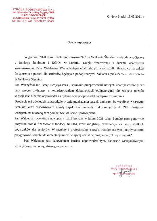Referencje - Szkoła Podstawowa w Gryfowie Śląskim